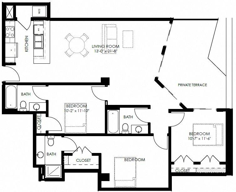 3 Bedroom 3 Bath Floor Plan 7