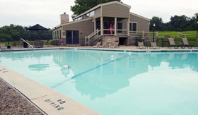 Outdoor Pool at The Oaks at Prairie View Apartments in Kansas City