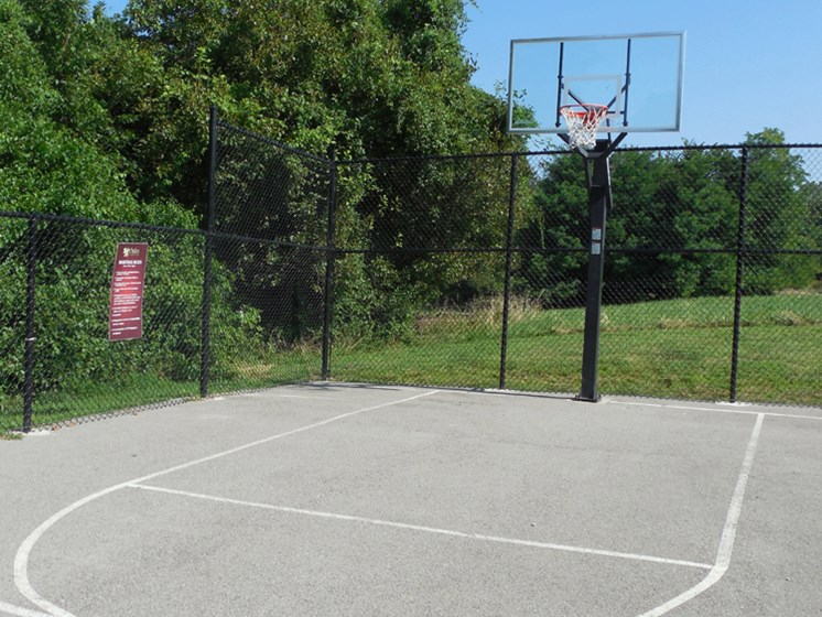 Apartments with basketball court at The Oaks at Prairie View Apartments in North Kansas City, MO