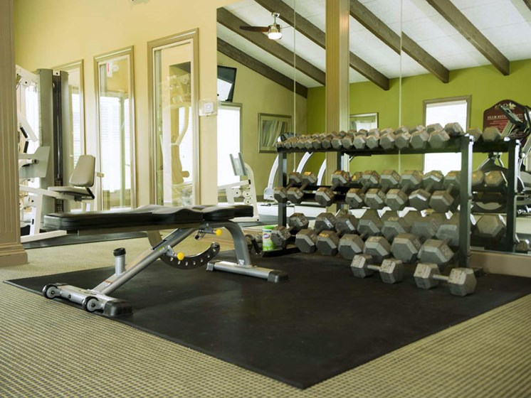 Large Fitness Center at The Oaks at Prairie View Apartments in North Kansas City, MO