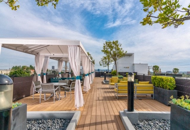 Rooftop cabanas and seating areas