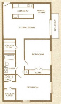 2 BR 1.5 BA Apartment Floor Plan 3