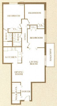 2 BR 2 BA with Den Apartment Floor Plan 7