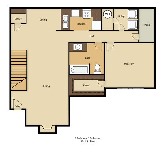 1 Bed/1 Bath Floor Plan 1