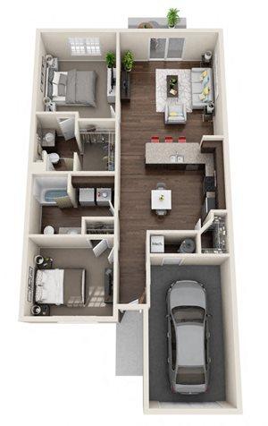 Fernwood- 2 Bed, 2 Bath, 1-Car Garage