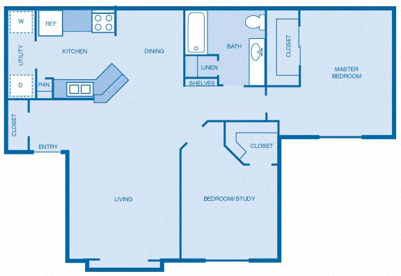 Two Bedroom, One Bath Floor Plan 2