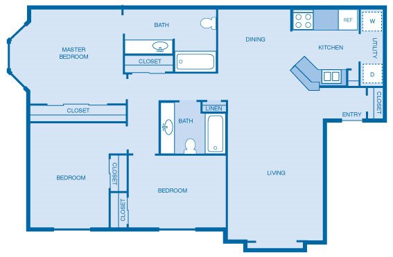 Three Bedroom, Two Bath Floor Plan 4