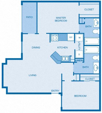 Two Bedroom, Two Bath Floor Plan 3