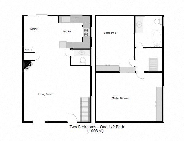 2 Bedroom  1.5 Bathroom Townhome Floor Plan 2