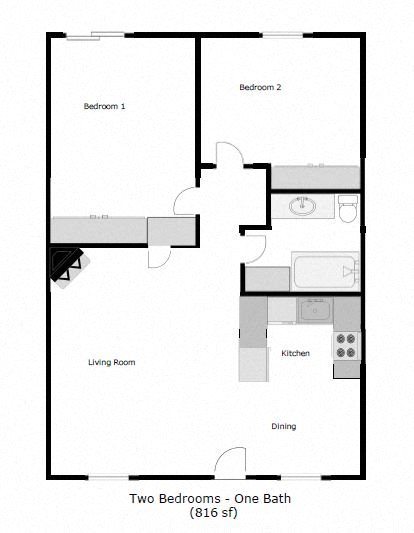 2 Bedroom 1 Bathroom Floor Plan 1