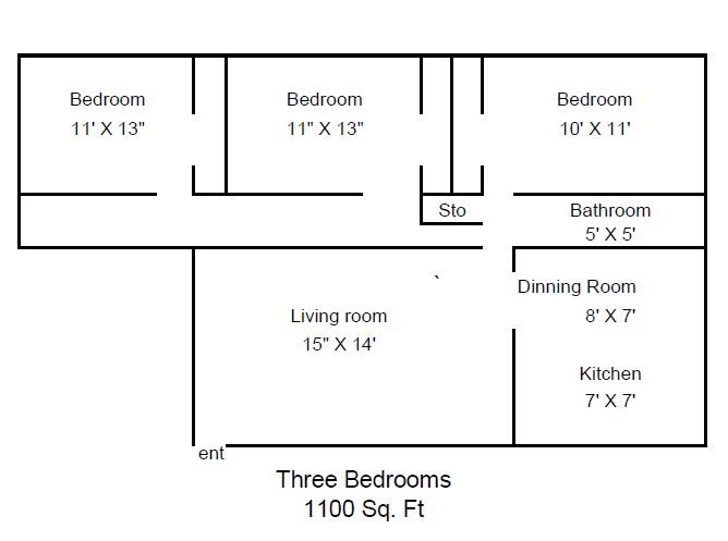 3 Bedroom 1 Bathroom Floor Plan 3