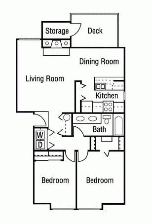 2 Bedroom 1 Bathroom Floor Plan