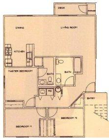 Small 3 Bed 2 Bath 50% Floor Plan 4