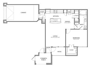 A3-Areca, 1x1 821sf (with attached garage)