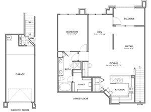 B1-Mazari, 1x1+Den 1079sf (with attached garage)