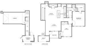 B4-Assai, 1x1+Den 1198sf (with attached garage)