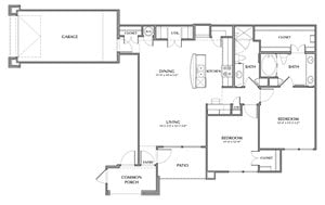 C2-Queen, 2x2 1169sf (with attached garage)