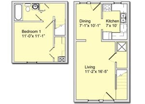 Phase I - 1 Bed 1 Bath Townhouse A