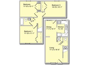 Phase I - 3 Bed 2 Bath Townhouse A