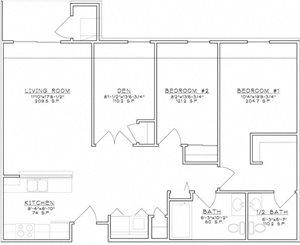 2 Bedroom Unit w/Den Midrise