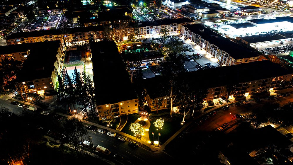 The Reserve at Warner Center Night Aerial View