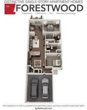 Forestwood- 2 Bed, 2 Bath, Den, 2-Car Garage