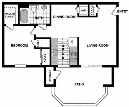1 Bedroom / 1 Bath Floorplan at The Hills at Quail Run, CA