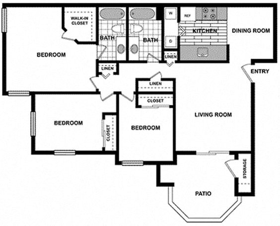 3 Bedroom / 2 Bath Floorplan at The Hills at Quail Run, Riverside, CA