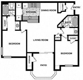 2 Bedroom/ 2 Bath Floorplan at The Hills at Quail Run, 5059 Quail Run Road