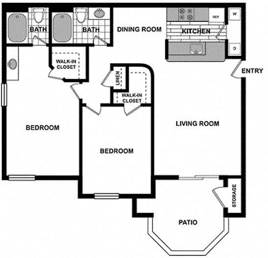 Large 2 Bedroom / 2 Bath Floorplan at The Hills at Quail Run, 92507