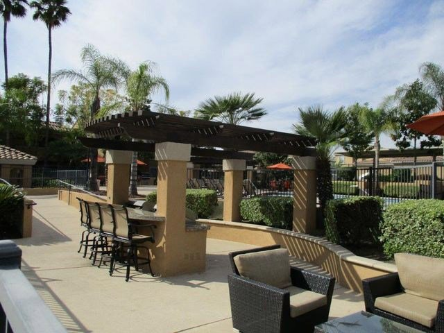 Private patios at The Hills at Quail Run, Riverside, CA,92507