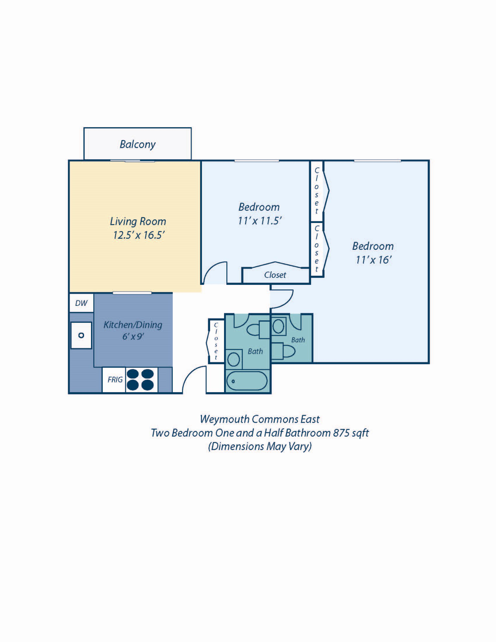 Two Bedroom Audubon Floor Plan 9