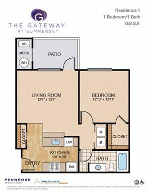1 bedroom luxury apartment unit, Gateway at Summerset