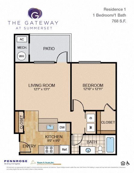 1 bedroom luxury apartment unit, Gateway at Summerset