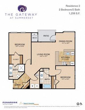 2 bedroom luxury apartment unit Pittsburgh