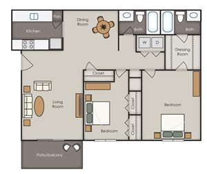 Magnolia Villas Apartment Homes - 2 Bedroom 2 Bath Apartment