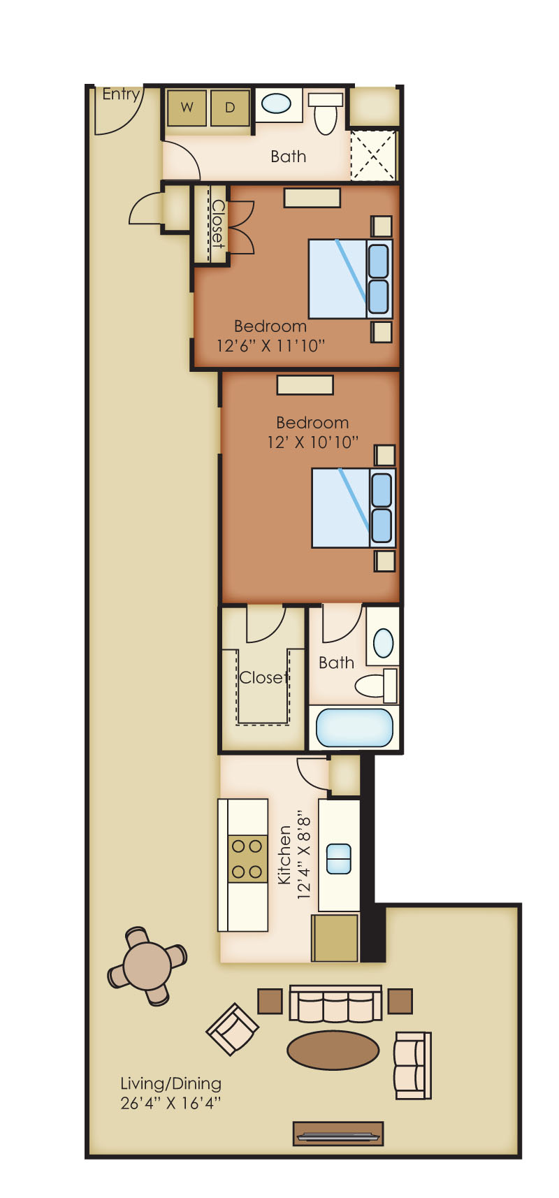 The Cannery Lofts Apartment Homes - 2 Bedroom 2 Bath Apartment