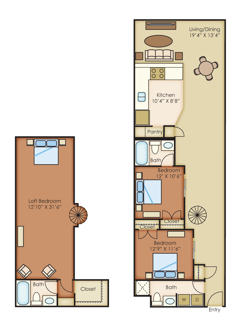 The Cannery Lofts Apartment Homes - 3 Bedroom 3 Bath Apartment