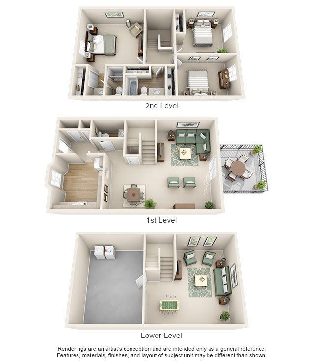 Williamsburg of Cincinnati Apartment Homes - 3 Bedroom 2.5 Bath Apartment