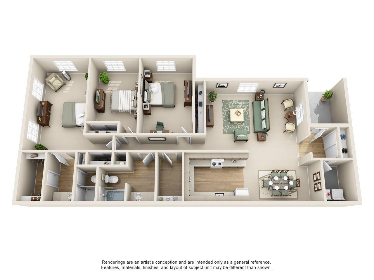Williamsburg of Cincinnati Apartment Homes - 3 Bedroom 2 Bath Apartment