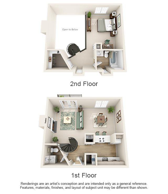 Williamsburg of Cincinnati Apartment Homes - 1 Bedroom 1.5 Bath Apartment