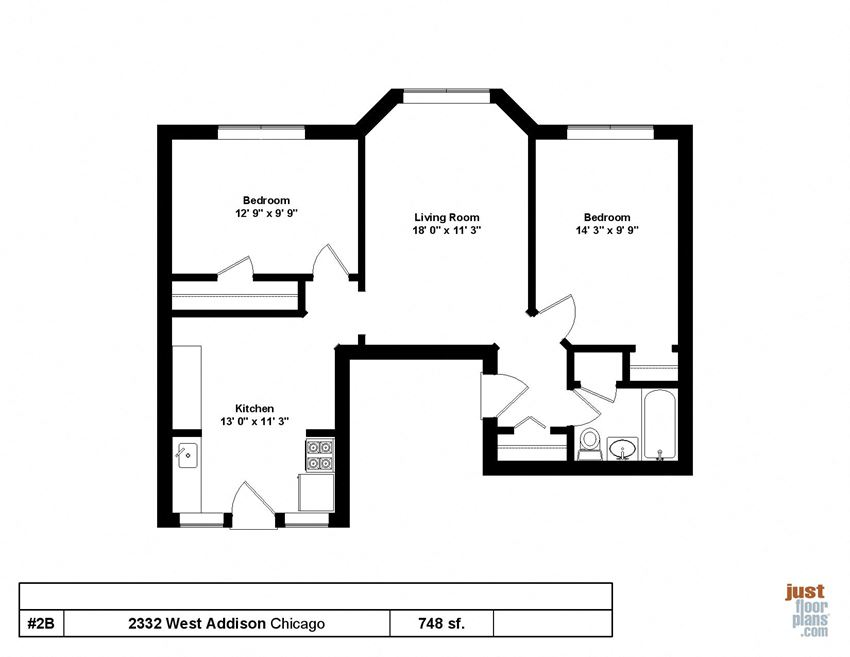 748 SQFT Two Bedroom One Bath