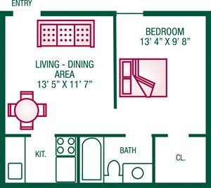 1 Bedroom / 1 Bath - Plan E