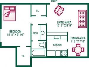 1 Bedroom / 1 Bath - Plan D