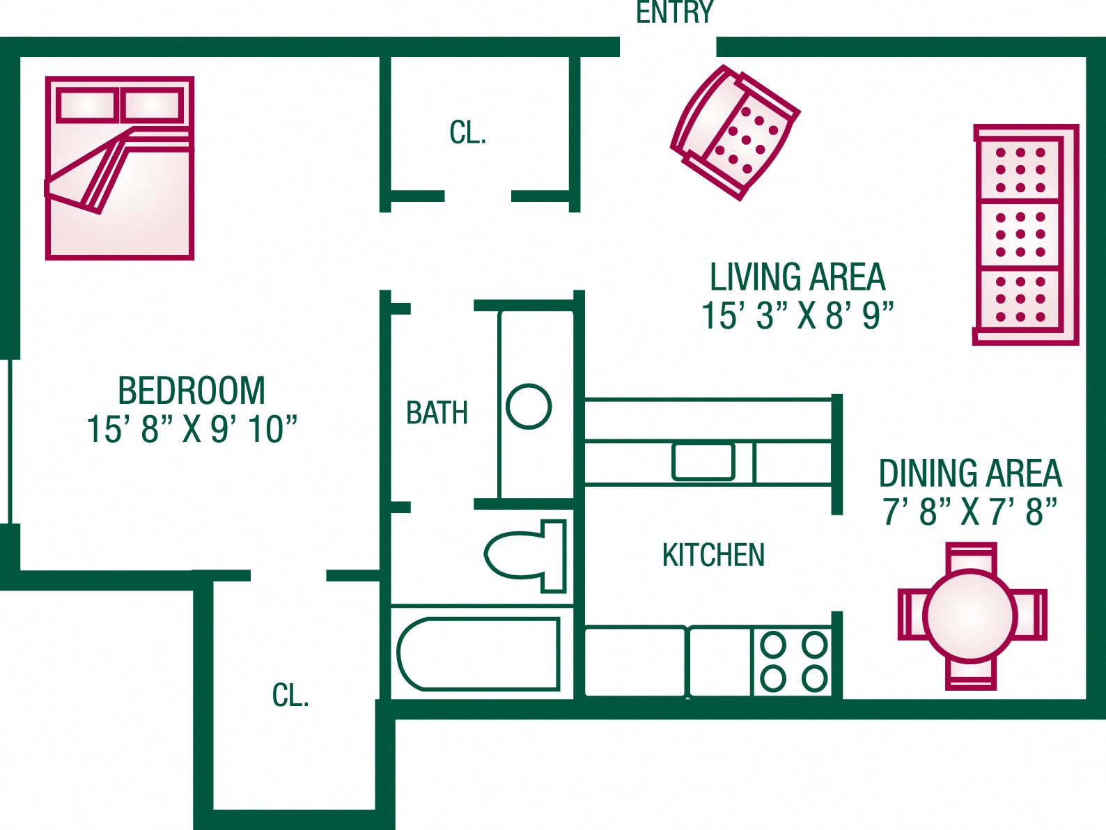 1 Bedroom / 1 Bath - Plan D Floor Plan 2