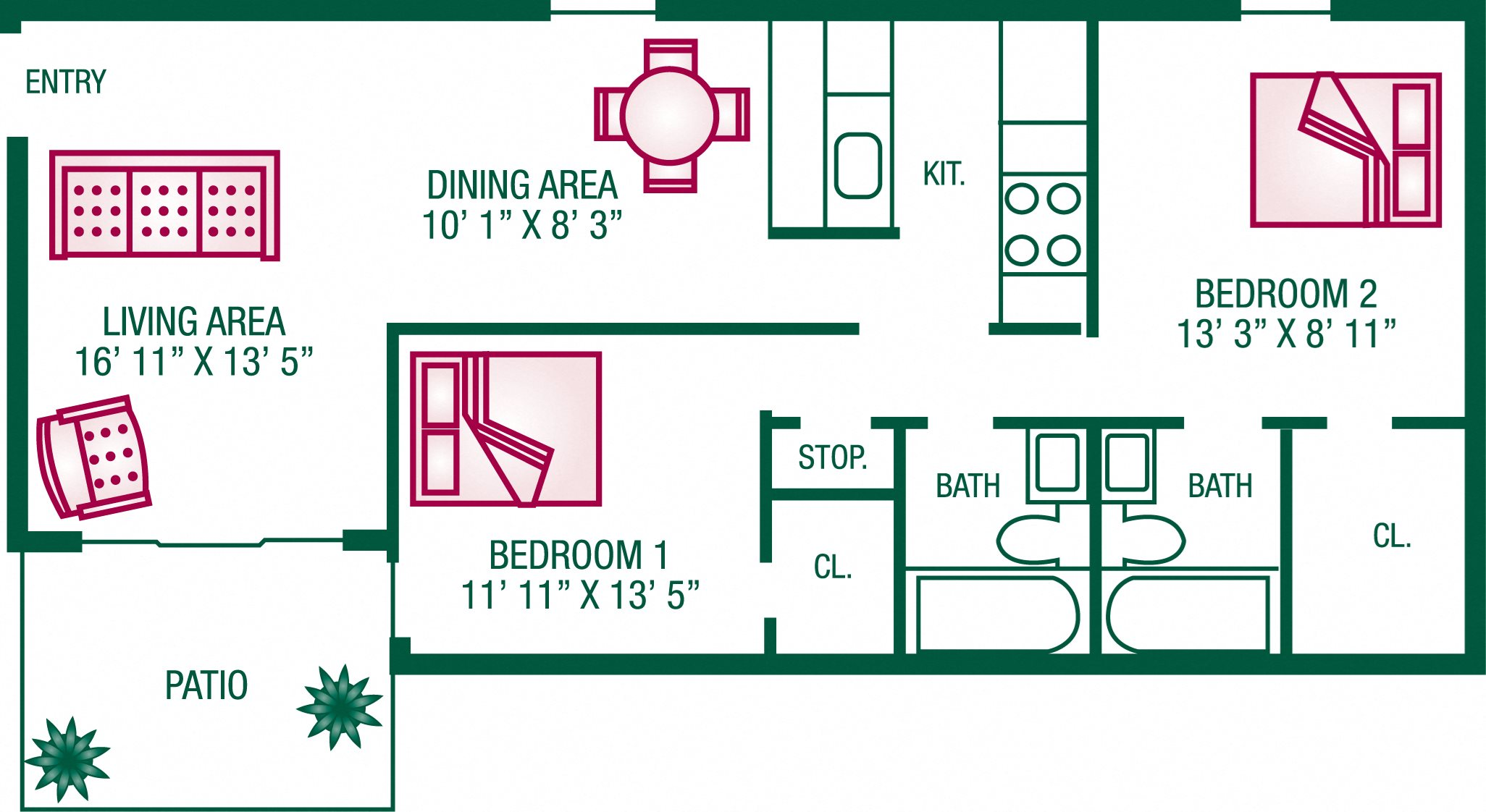 2 Bedroom / 2 Bath - Plan B Floor Plan 4
