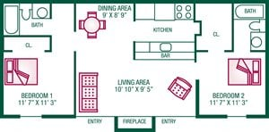 2 Bedroom / 2 Bath (with Fireplace) - Plan A