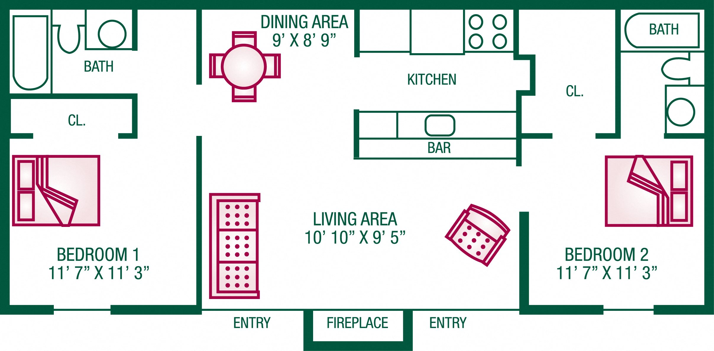 2 Bedroom / 2 Bath (with Fireplace) - Plan A Floor Plan 5