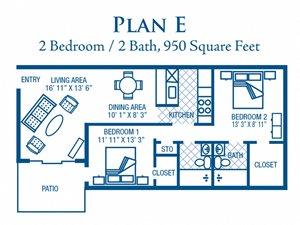 2 Bedroom / 2 Bath (Large)