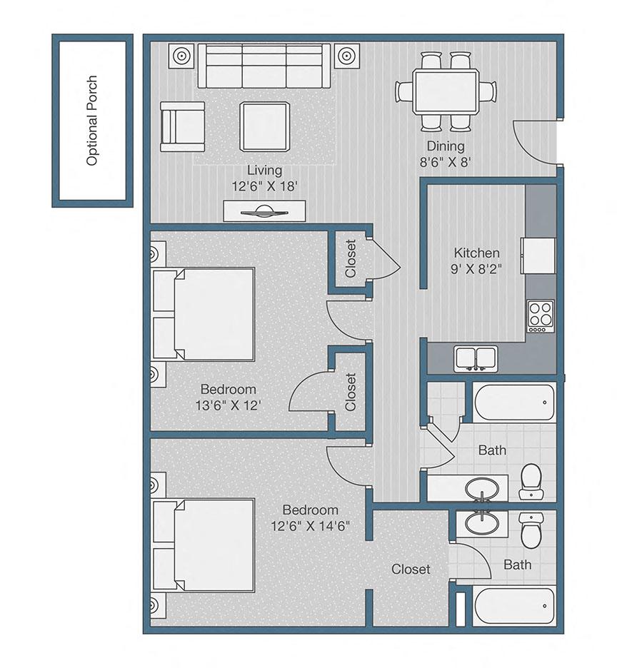 2 Bed / 2 Bath Apartment in Raleigh NC | Bacarra